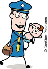 Running with a Baby - Retro Postman Cartoon Courier Guy ...