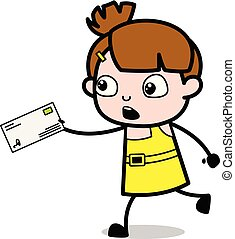 Running with Envelope - Cute Girl Cartoon Character Vector Illustration