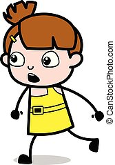 Running with Fear - Cute Girl Cartoon Character Vector Illustration