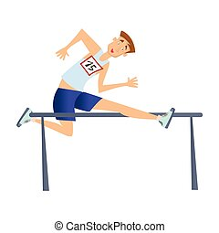 Running with obstacles. Man jumping over the barrier. Vector illustration, isolated on white background.