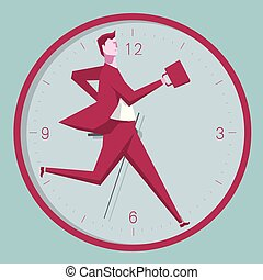 Running with the clock, business concept design, the background is blue.
