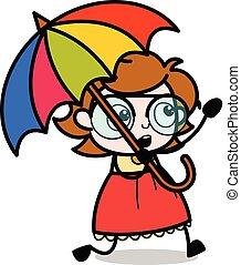 Running with Umbrella - Teenager Cartoon Intelligent Girl Vector Illustration