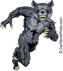 Running wolf mascot illustration of a wolf animal sports mascot or character sprinting