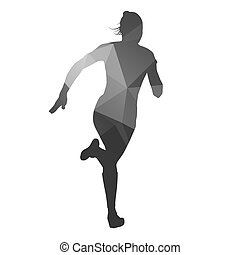 Running woman. Abstract geometric vector silhouette