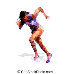 Running woman. Active girl. Abstract vector illustration. Modern geometric design