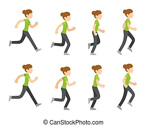 Running woman animation frames set. Flat cartoon vector...
