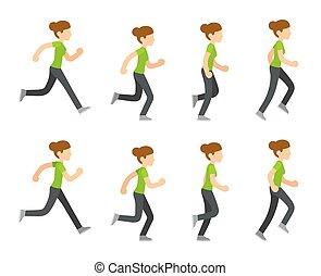 Running woman animation frames set. Flat cartoon vector...