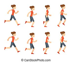 Running woman animation sprite set. 8 frame loop. Flat...