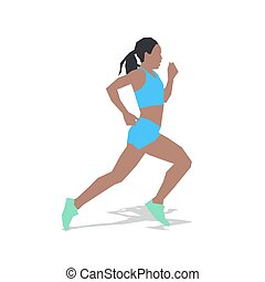 Running woman, flat design illustration. Run, summer sport. Young active girl