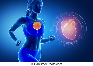 Running woman focused on heart