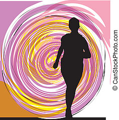 Running woman illustration