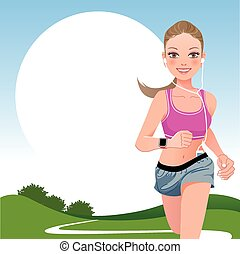 Running woman in country side - Jogging woman outdoor with...
