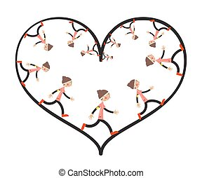 Running Woman Inside Heart Shape