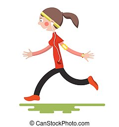 Running Woman Isolated on White Background. Flat Design Sport Cartoon. Young Female Run.