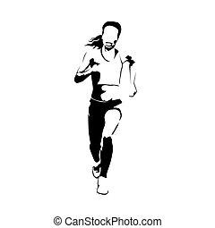 Running woman isolated vector illustration