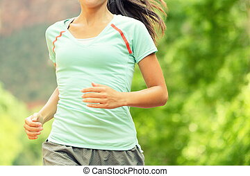 Running Woman Jogging On Sunny Day - Midsection