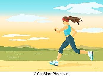 Running woman, morning jogging
