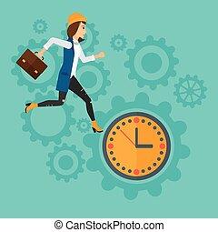 Running woman on clock background.