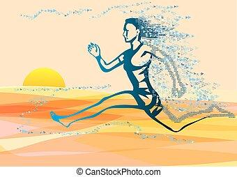 running woman on seacoast