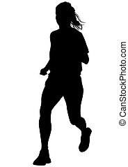 Running woman on white background