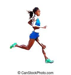 Running woman, polygonal vector illustration, side view