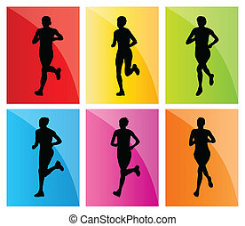 Running woman set vector background