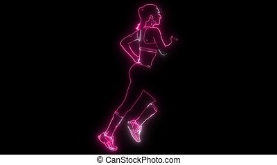 Running woman, silhouette, side view - Running woman,...