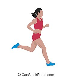 Running woman, vector illustration, flat design