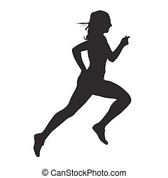 Running woman vector silhouette, side view