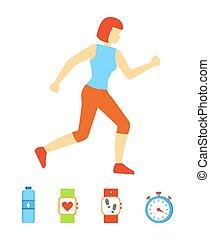 Running Woman Weight Loss Vector Illustration