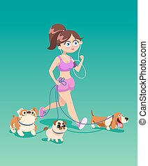 Running woman with dogs.