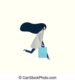Running Woman with Shopping Bags. Vector illustration.