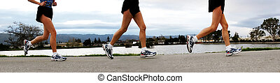 Running Women - 3 shots of a woman jogging along a river