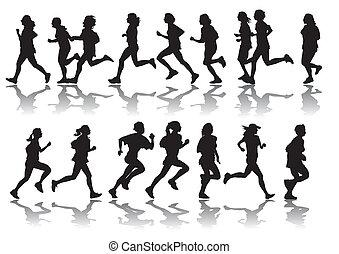 vector drawing running a marathon women's sports