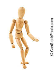 running wooden mannequin isolated on white background