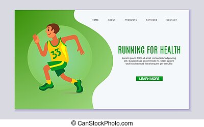 Running young man vector illustration. Online fitness exercise, webpage decorated by man in run for health. Runner in green and yellow sport cloths on green background web page.