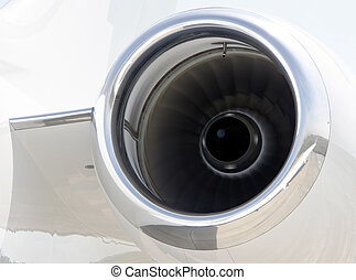 Runnning Jet engine closeup on a private airplane - Bombardier