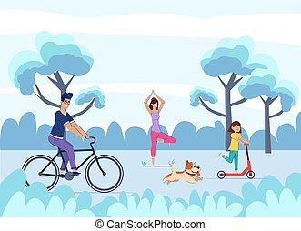 runs., vélo, promenades, maman, fille, pratiques, yoga, scooter, été, papa, chien, vacation.