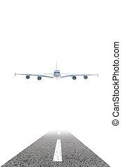 Runway - A plane preparing for landing on a runway