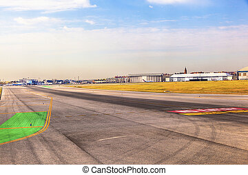 runway at Barajay Airport in Madrid, Spain