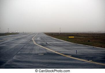 Runway in fog