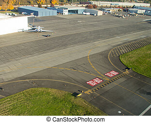 Runway Intersection and Taxiway - Aerial view of airport...