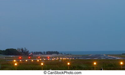 Runway Lighting Systems at early morning