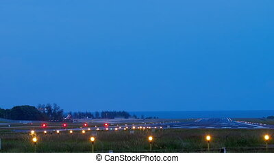 Runway Lighting Systems at early morning - Lighting open on...