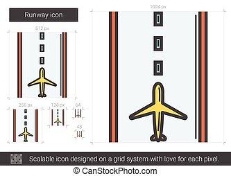Runway line icon.