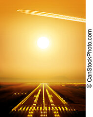 runway - passenger plane fly up over runway from airport at...
