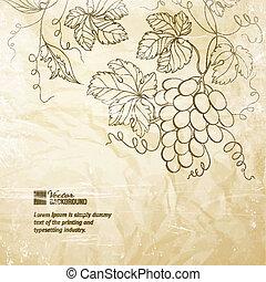 runzelig, braunes papier, grapes.