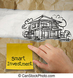 runzelig, halten papier, hand, klug, haus, klebrig, investition, merkzettel, begriff