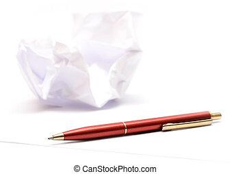 runzelig, stift, papier, &