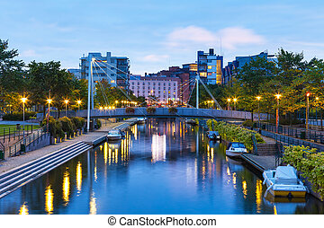 Ruoholahti canal in Helsinki, Finland - Scenic evening view ...